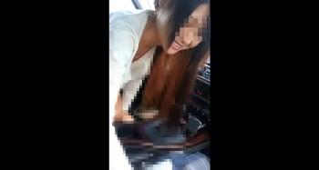 【完全素人】仕事中の23歳篠○涼○似の美人OLに車内フェラしてもらっちゃいました!【個人撮影】