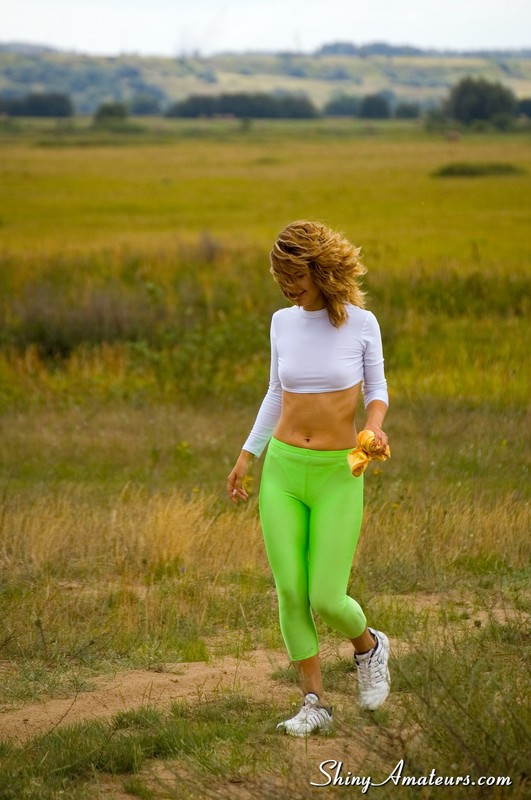 sexy jogger lady in green lycra pants