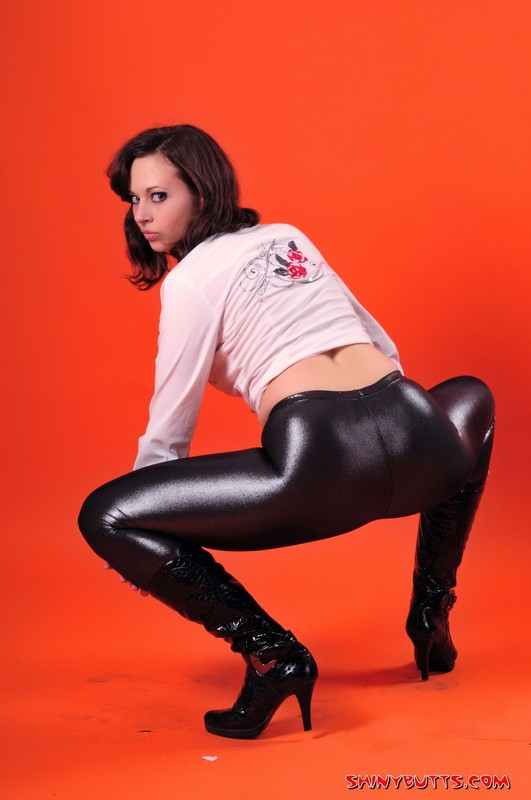 college girl Lydia in shiny leggings & boots