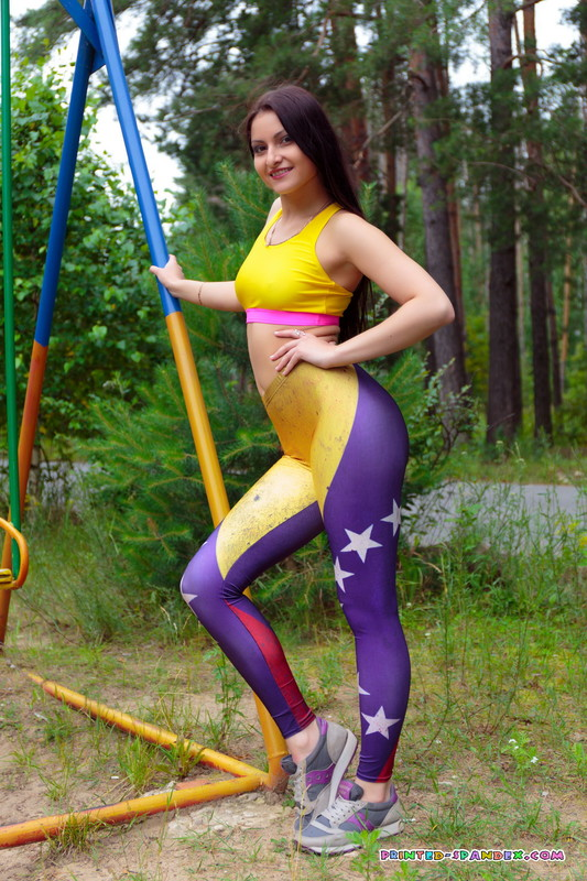 sporty russian lady Marina S in kinky yogapants