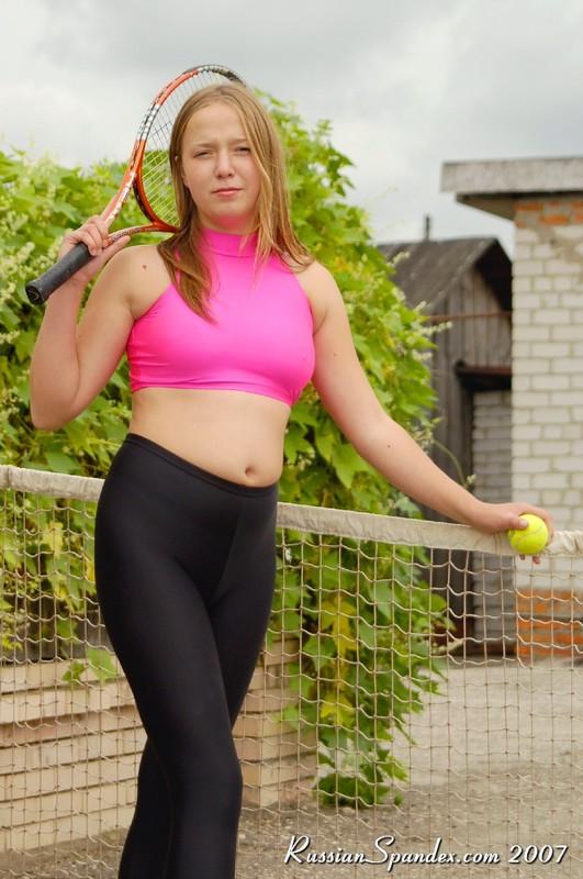 tennis girl Anna in sexy spandex uniform