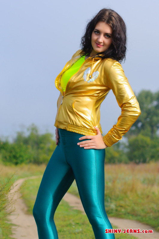 charming model Natasha K in green disco pants