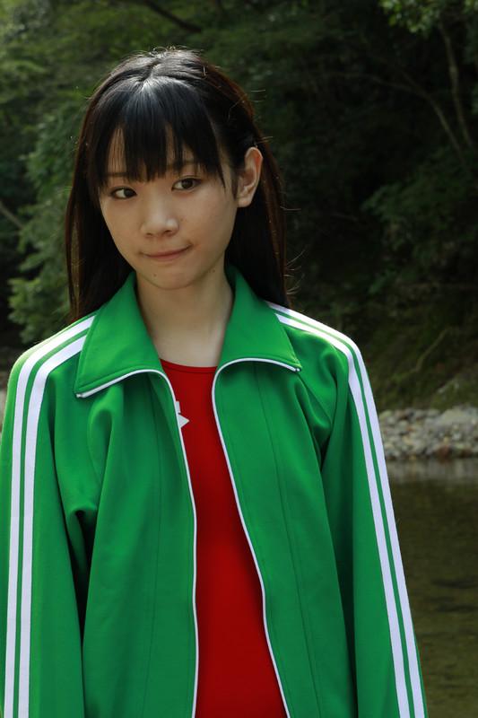japan college babe Miyu Suenaga in red arena swimsuit