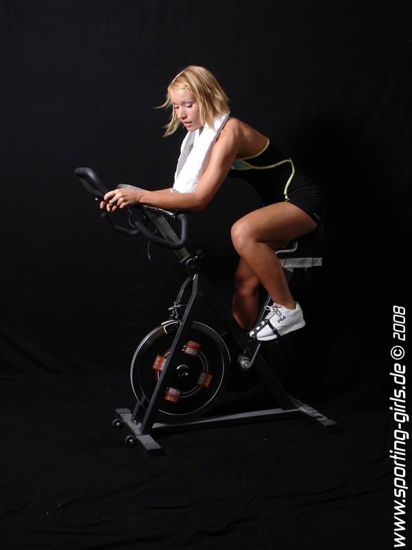 hot cyclist Diana in spandex gym uniform