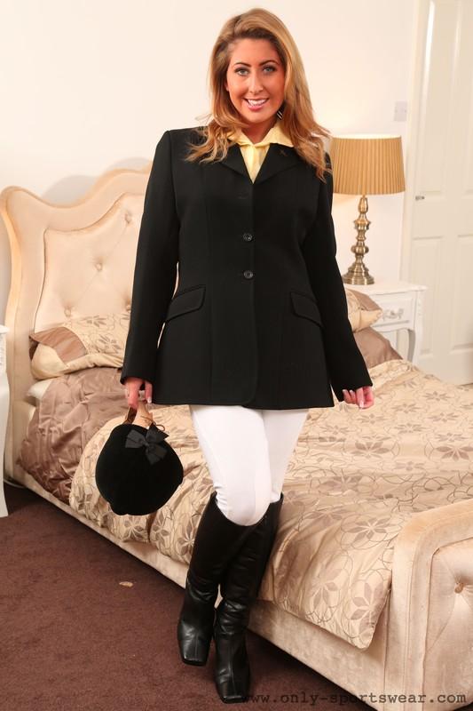 charming lady Sophie Star in equestrian uniform