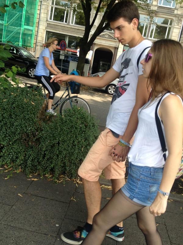 petite girlfriend in denim shorts & pantyhose