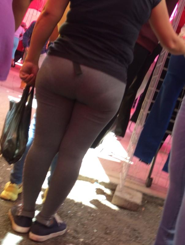 sweet milf booty in grey fitness pants