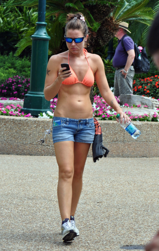 fit milf in denim shorts & orange bikini top