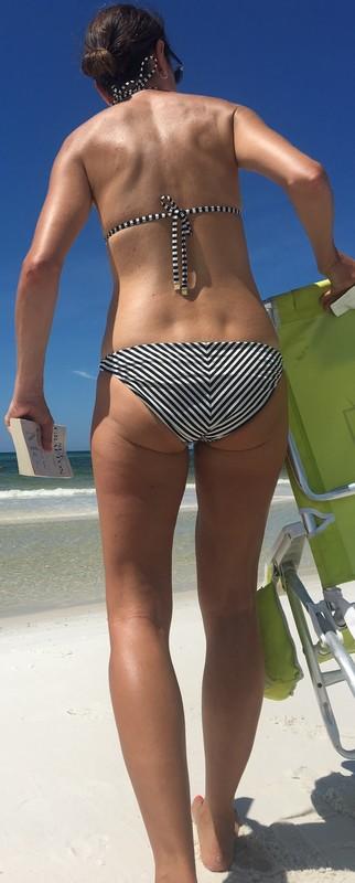 horny milf in striped bikini