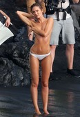 Candice Swanepoel Goes Topless at the Beach for Victoria's Secret