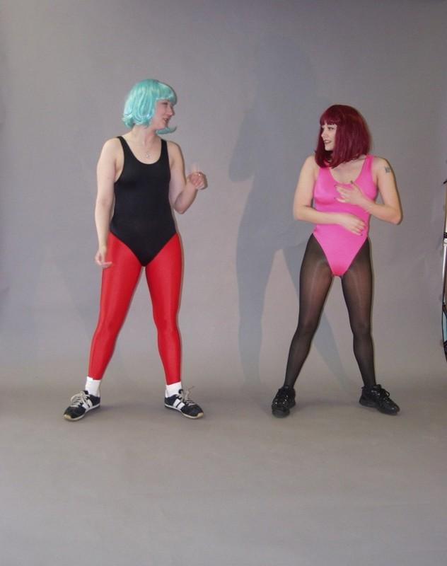lesbian girls Tabitha & Gina spandex fetish pics