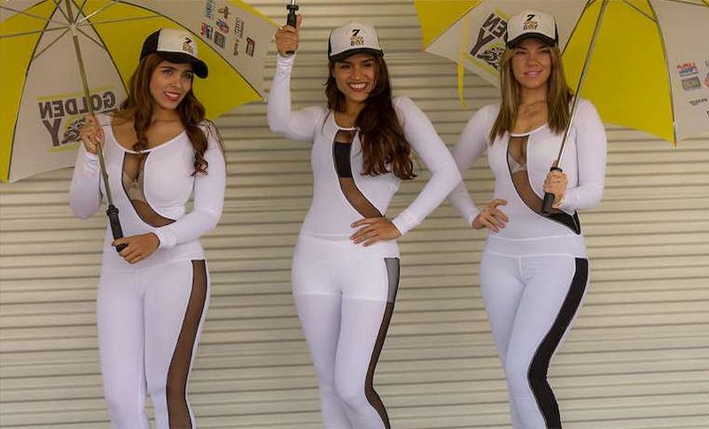 kinky promo girls in tight catsuits