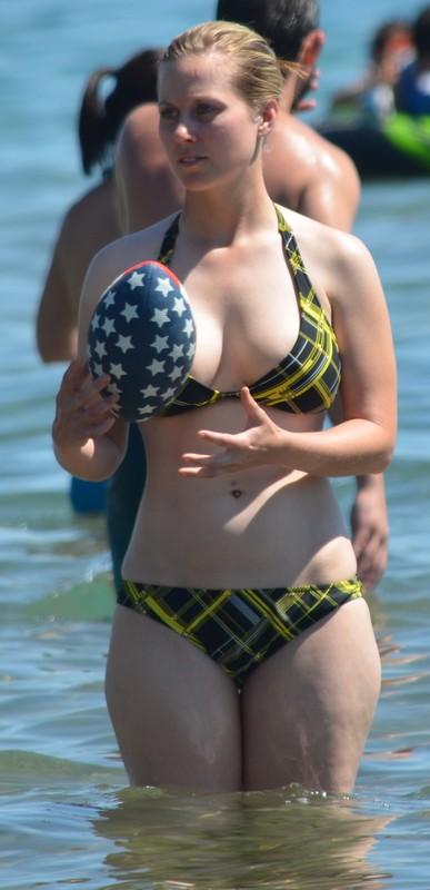 lovely blonde woman in naughty bikini