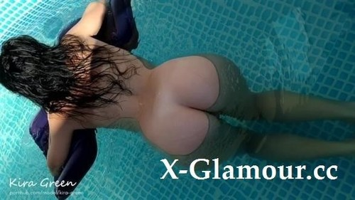 Blowjob And Sex In Pool, Double Cumshot - Amateur Homemade Teen Kira Green [FullHD]