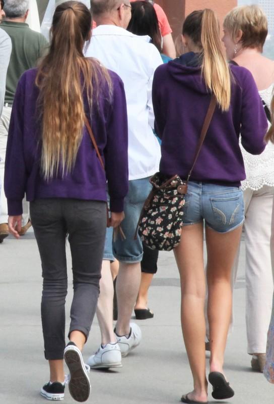 skinny babe in candid denim shorts