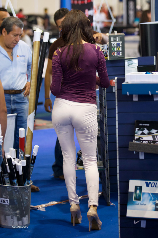 gorgeous promo lady in tight pants