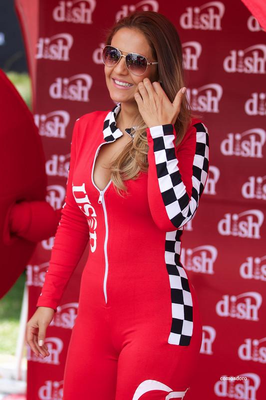 horny race queen in red catsuit