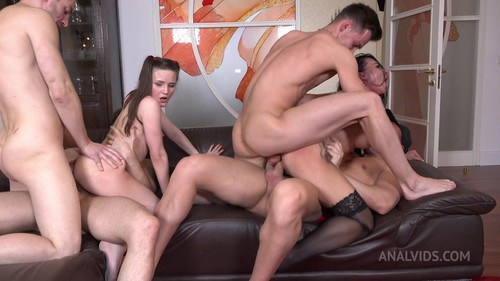 LegalPorno -  Hot MILF Ruslana Chili and Luscious Baby Bamby Fuck Hard With 4 Cocks! Double Anal, Double Vaginal, Double Penetration NRX093