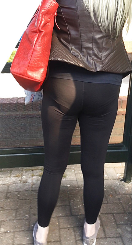 blonde milf booty in sexy black tight pants