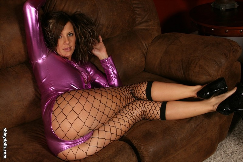 lovely shiny doll in purple leotards & fishnets