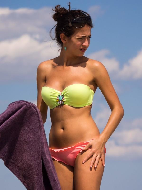 lovely brunette lady in candid bikini
