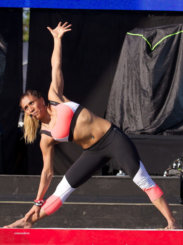 fitness instructor lady in candid spandex outfit