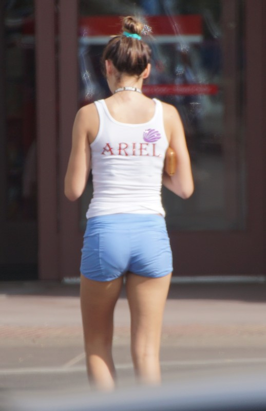 skinny college teen in blue shorts