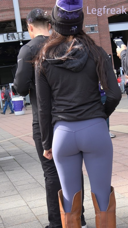 handsome babe in purple leggings & boots