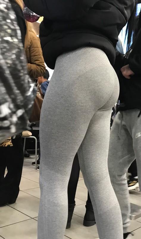 handsome ass in grey leggings