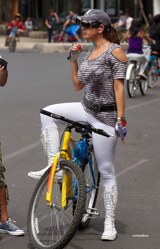 cyclist babe in white leggings & boots