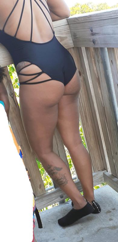 amazing ebony milf in black swimwear
