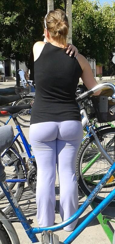 cyclist milf in purple yoga pants