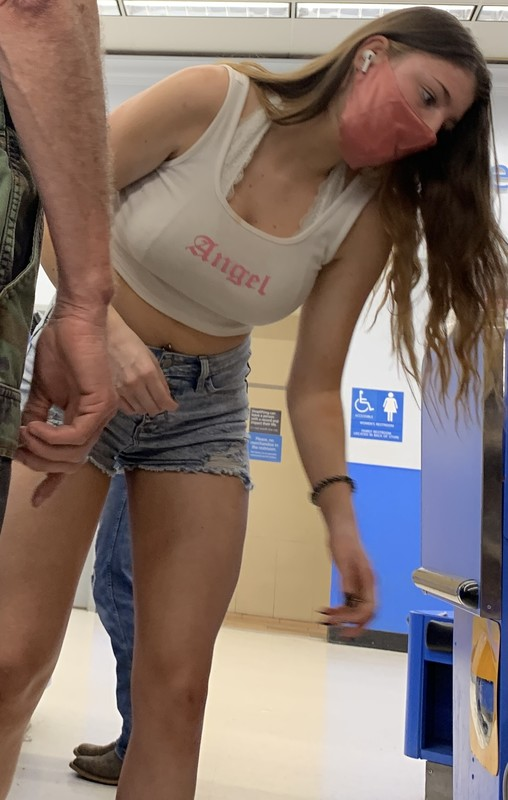 checkout line hottie in jean shorts
