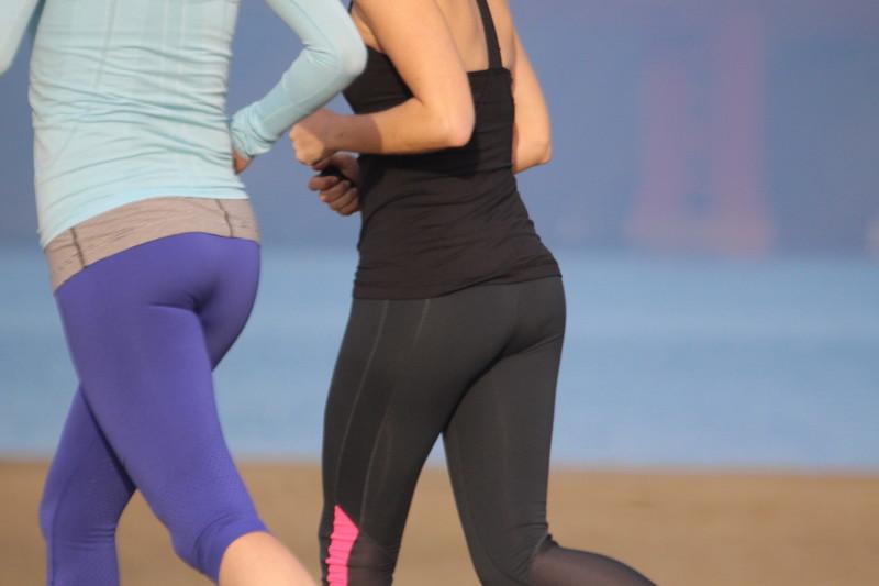 jogger milf in blue leggings