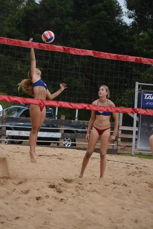 lovely teen beach volleyball girls in bikinis