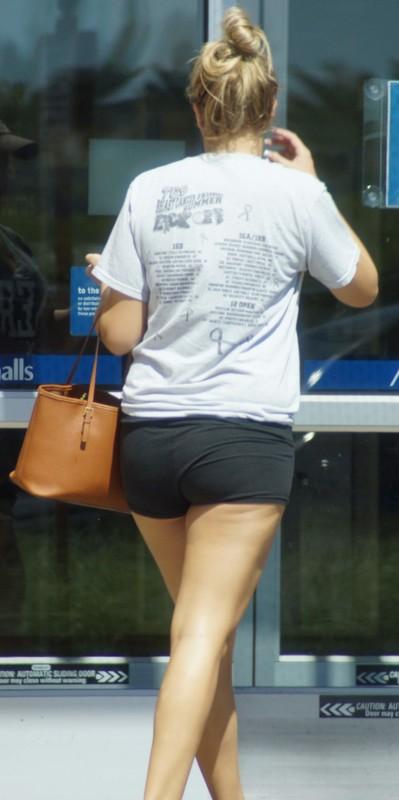 college girl in black lycra shorts
