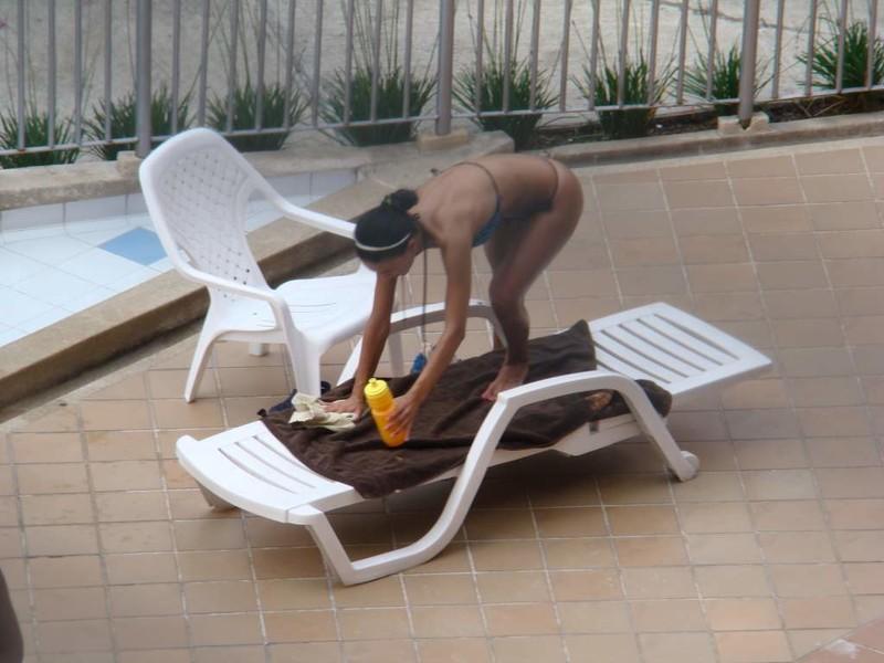 hotel pool teen in thong bikini