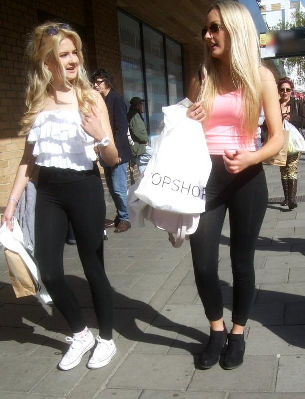 two tasty blondes in leggings