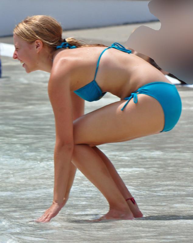 waterpark honey in blue bikini