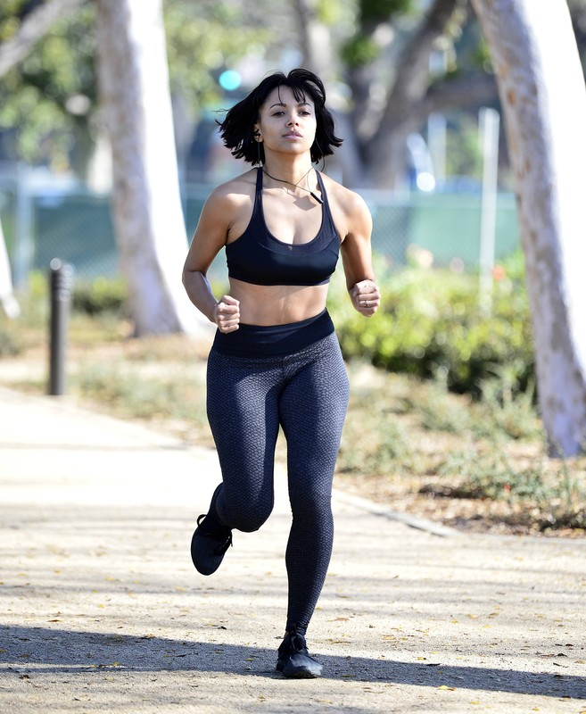 jogger lady Kat Graham in candid fitness uniform