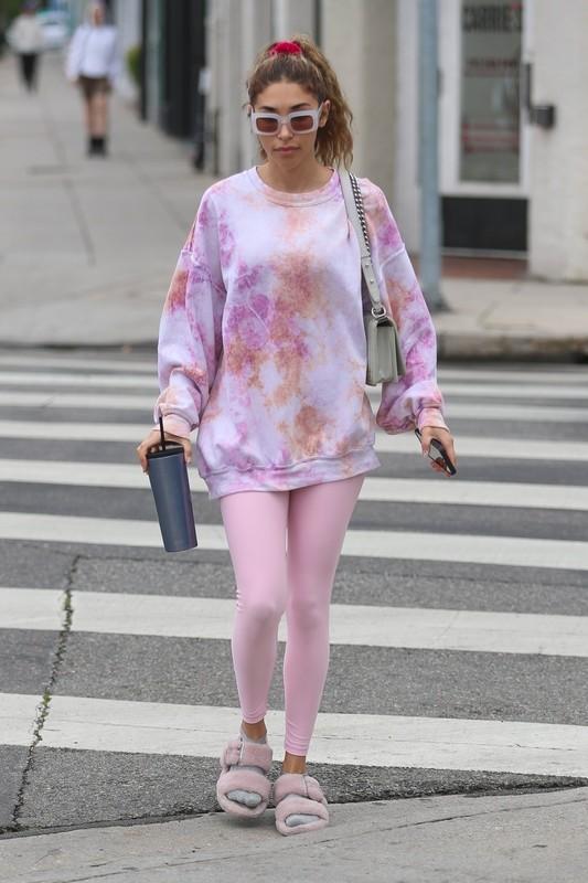 sweet model Chantel Jeffries in pink yoga pants