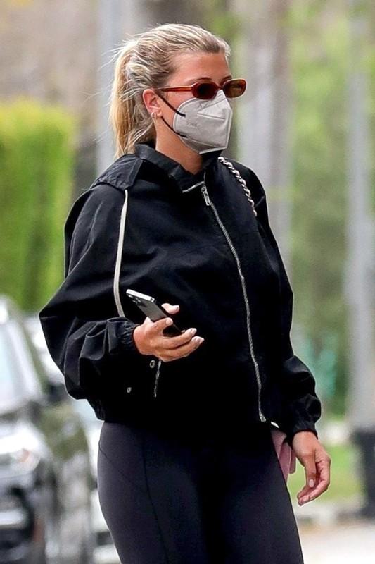 hot Sofia Richie in black lycra pants