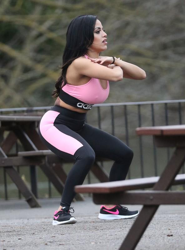 brunette hottie Chloe Saxon in sexy adidas yogapants