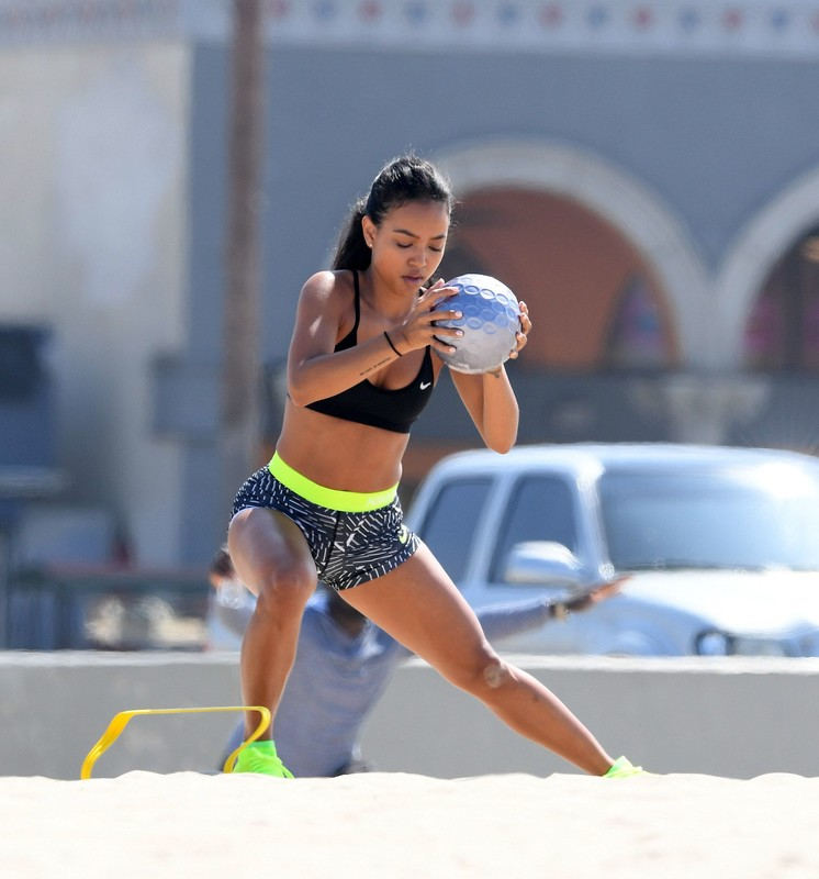ebony lady Karrueche Tran in sexy workout spandex