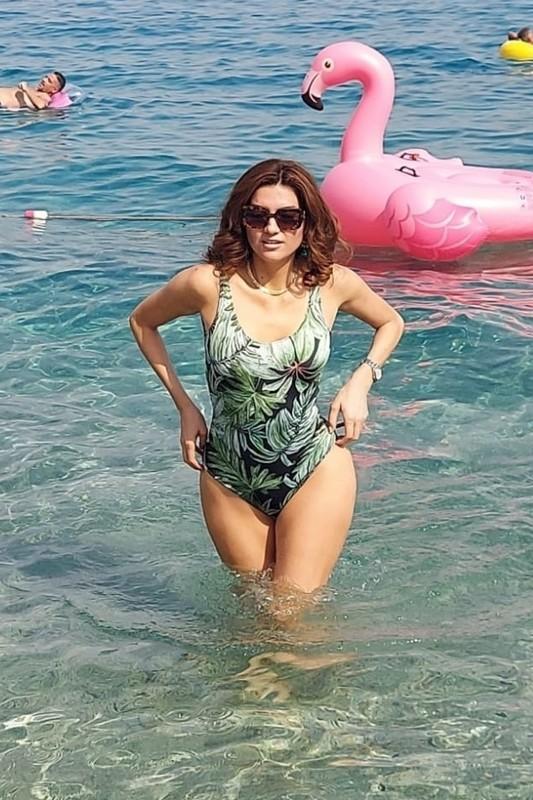 sexy female Blanca Blanco in 1 piece swimsuit