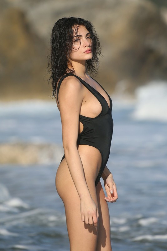 italian chick Alessia Veneziano in black 1 piece swimsuit