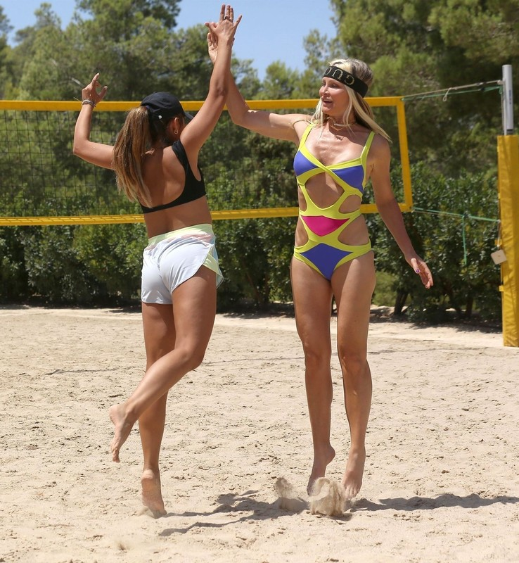 beach volleyball milf Caprice Bourret in lovely swimsuit