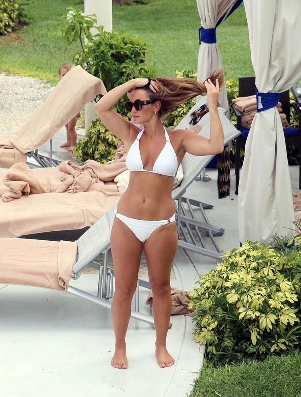 handsome milf Sam Faiers in white bikini