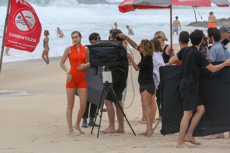 amazing babe Gigi Hadid in red swimsuit