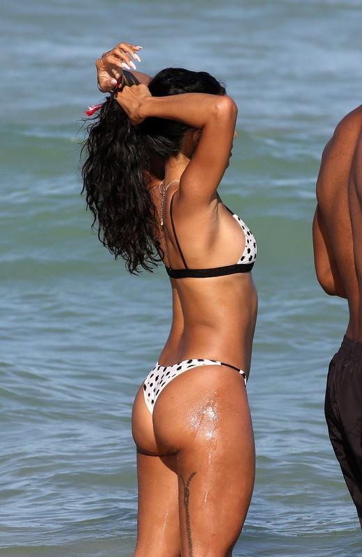black cutie Karrueche Tran in wet sexy bikini